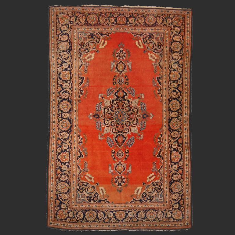 Persian Rug Kashan antique fine 6.7 x 4.3 ft ft / 205 x 132 cm