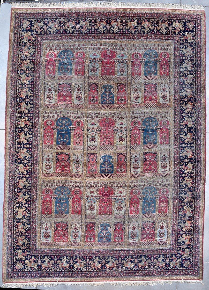 #7754 Antique Laver Kerman Persian Oversized Oriental Rug