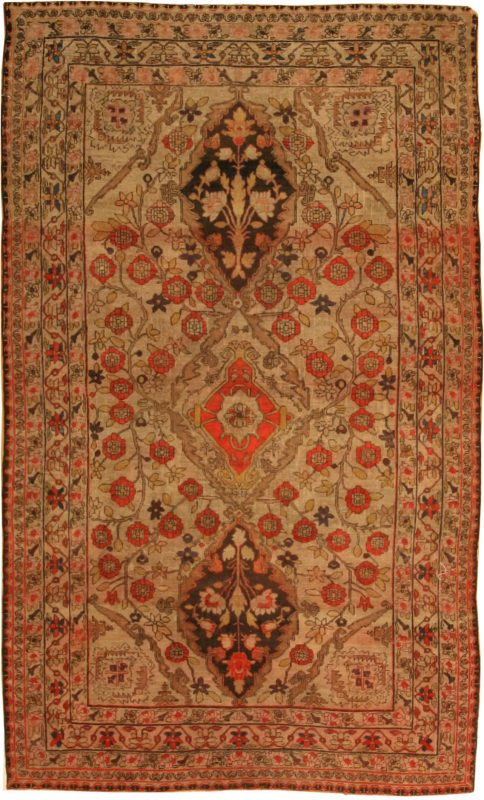 Small Scatter Size Antique Persian Kerman Lavar Rug 2197