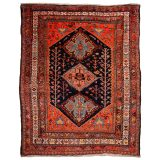 Baharlu Qashqai Antique Tribal Rug 7 x 5 ft Veggie dyes