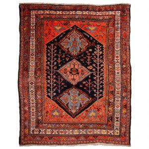 Baharlu Qashqai Antique Tribal Rug 7 x 5 ft Veggie dyes