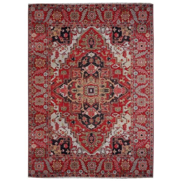 Heriz Azeri vintage rug 9 x 12 ft Red Beige room size area carpet