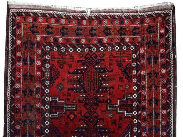 Antique Balouch rug 7 x 3.7 ft Red Blue Beige Brown