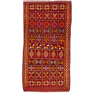 Moroccan Vintage Rug Zemmour Red Gold 6.6 x 3.5 ft Hand knotted in Morocco Design: Allover design rug Size: 6.6 x 3.5 ft 202 x 102 cm Condition: Very good with patina, see images Materials: Wool Colors: Red Gold Beige Age: ca. 30 - 40 years